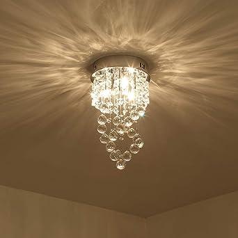 Lustres en Cristal Couloir Moderne Encastr/é Avec Suspension Luminaire Salon Plafond Luminaire pour Chambre /à Coucher Etelux Plafonnier en Cristal