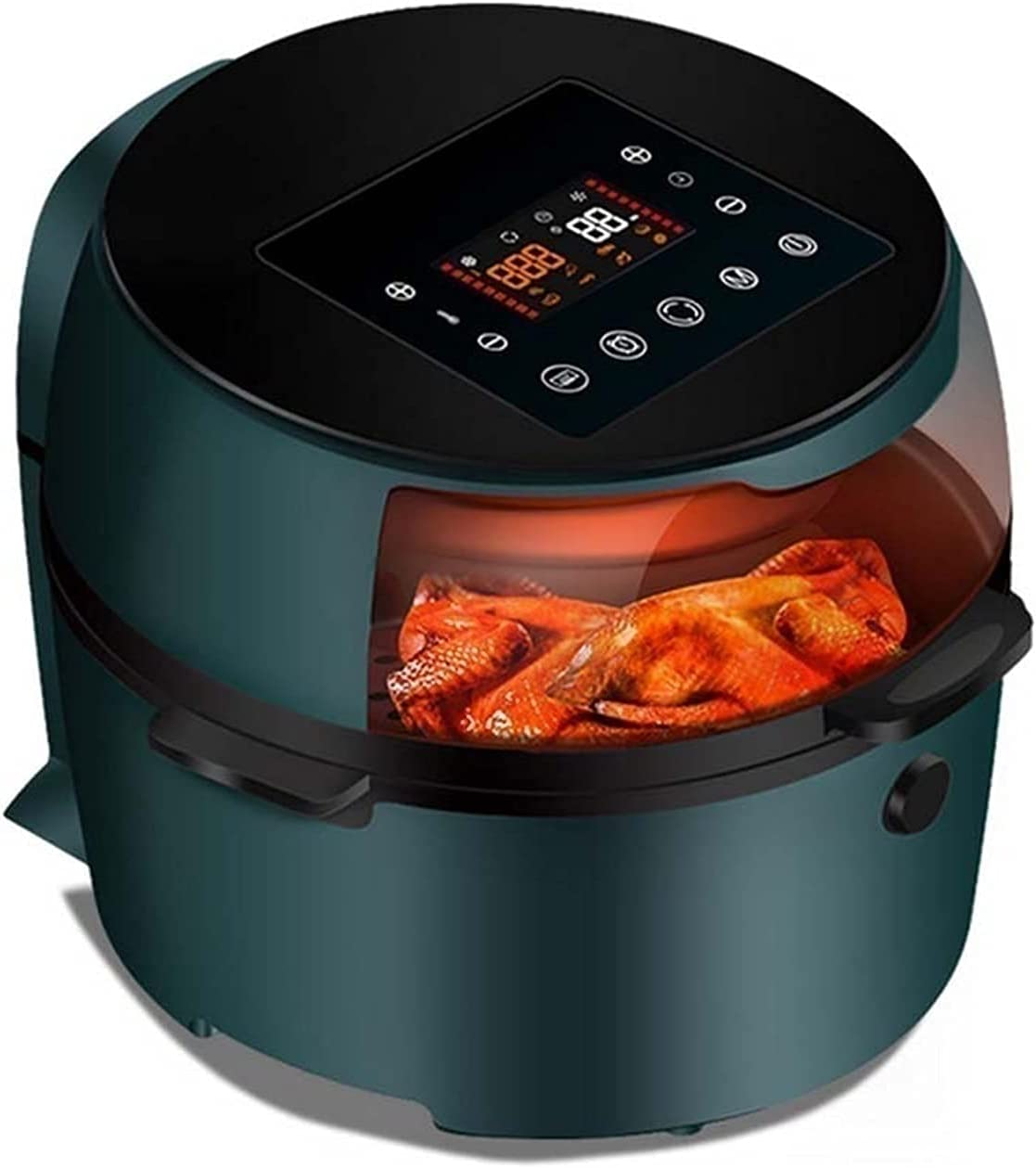 8L Air Fryer, Health Fryer 1500W Electric Deep Fryers Oil Free Adjustable Timing Cake French Fries Cooker (Color : Green) Oil-free healthy cookware