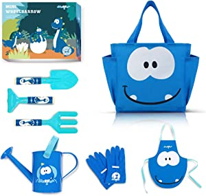 Colwelt Kids Gardening Tool Set, 7Pcs Childrens Gardening Set with Metal Watering Can, Fork, Rake, Trowel, Kids Apron, Gloves, Tote Bag