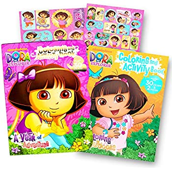 amazon com dora the explorer giant coloring book with stickers 144