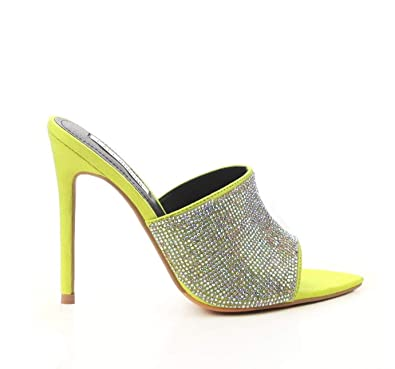 8635d073de22 Michelle Parker Cape Robbin Tiffany Lime Rhinestone Slip-On Mules Pointy  Open Toe Stiletto Heel
