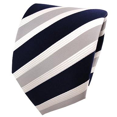 Diseñador corbata de seda - azul oscuro gris plata crema rayas ...