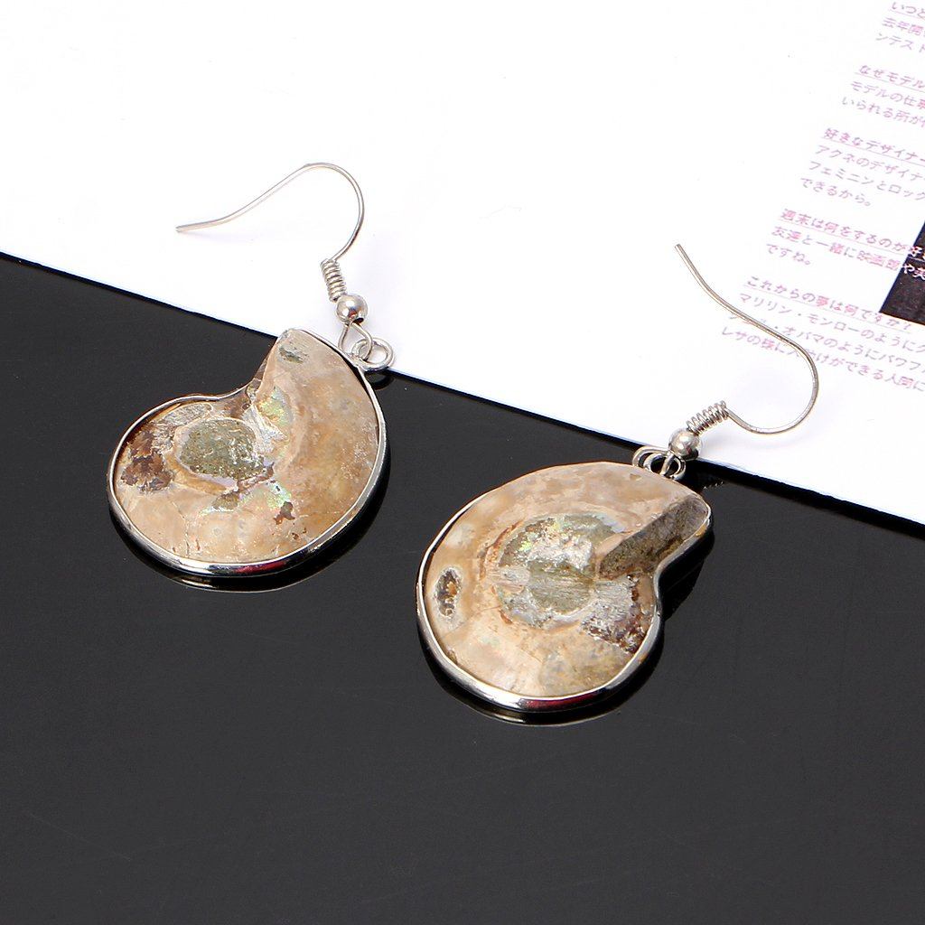 Guaber Natural Snail Ammonite Spiral Whorl Conch Shell Fossils Pendant Dangle Earrings