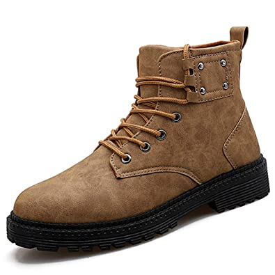 e48e7d728a8b JITIAN Young Boys Short Work Boots Winter Men's Composite Toe Leather Ankle  Boots Autumn Resistant Safety Military Boots High-top Martin Boots: ...