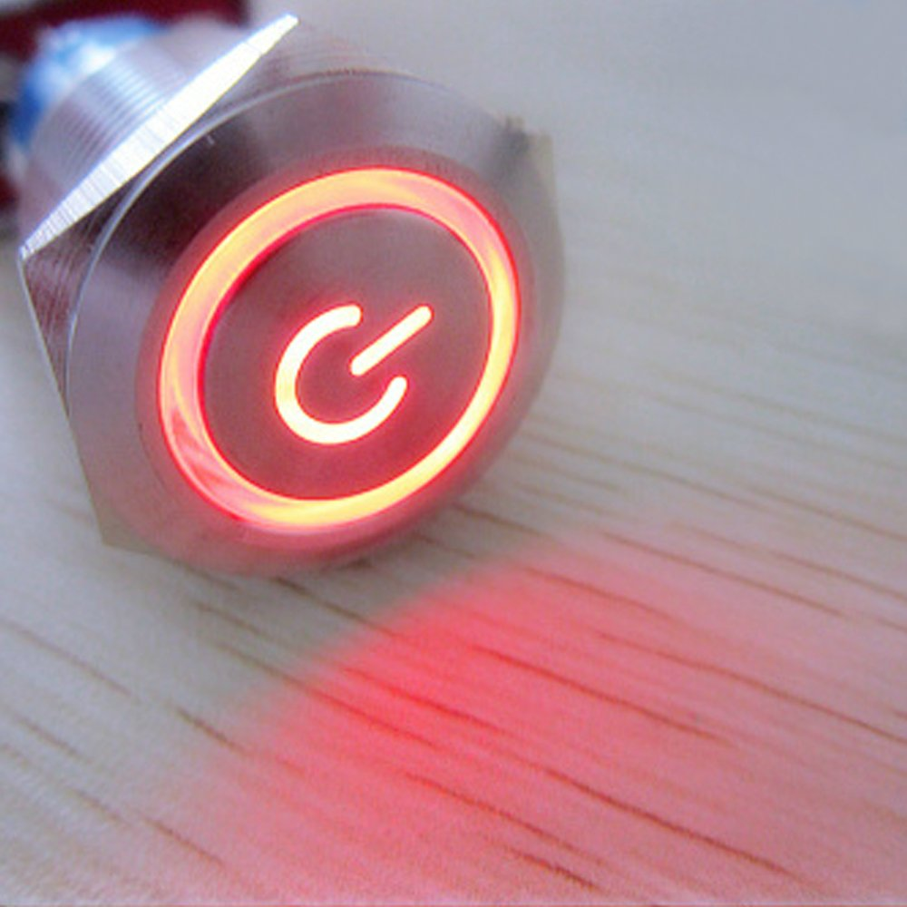 E Support/™ 19mm 12V 5A Power Symbol Angel Eye Halo Car Green LED Light Metal Push Button Toggle Switch Socket Plug Wire