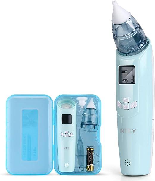 INTEY Aspirador Nasal Electrico Mini Aspirador de Nariz del Bebé,Saca mocos Electrico para Limpiar Nasal con La Música Ajustable Más Seguro (Incluye BATERIAS): Amazon.es: Hogar