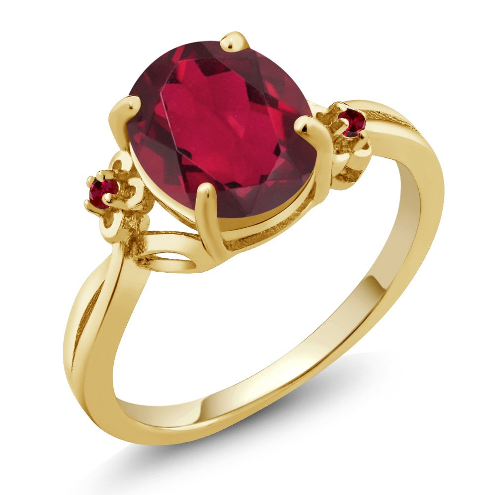 2.73 Ct Oval Red Mystic Quartz Red Created Ruby 14K Yellow Gold Ring (Ring Size 7)