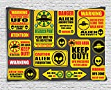 Outer Space Decor Tapestry by Ambesonne, Warning Ufo Signs with Alien Faces Heads Galactic Paranormal Activity Design, Wall Hanging for Bedroom Living Room Dorm, 80WX60L Inches, Yellow