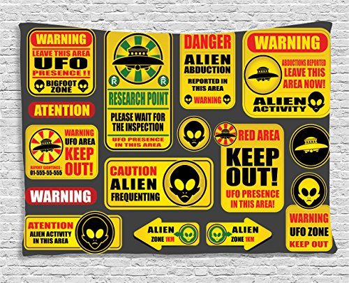 Outer Space Decor Tapestry by Ambesonne, Warning Ufo Signs with Alien Faces Heads Galactic Paranormal Activity Design, Wall Hanging for Bedroom Living Room Dorm, 60WX40L Inches, Yellow by Ambesonne
