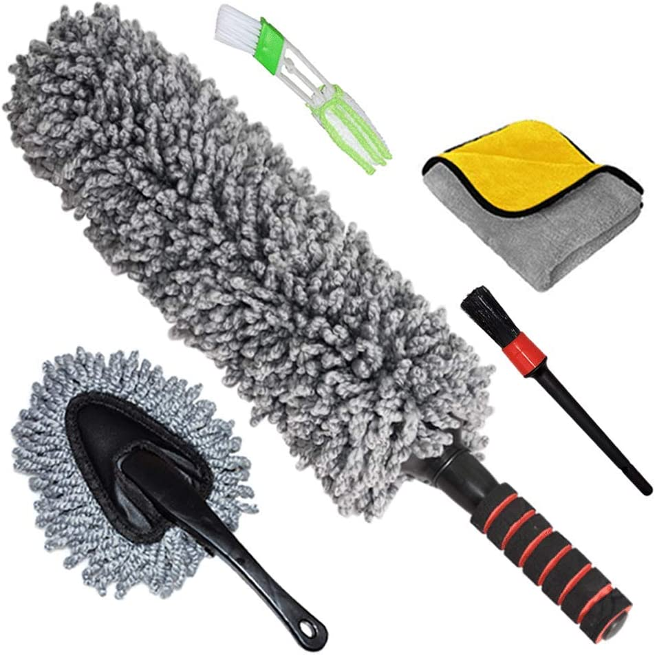 Car Duster Exterior Interior Brush, Set of 5, Best Extendable Ultimate Long Microfiber Multipurpose Duster/Cleaning Dashboard Duster/Car Detailing Brush/Lint Free Microfiber Cloths