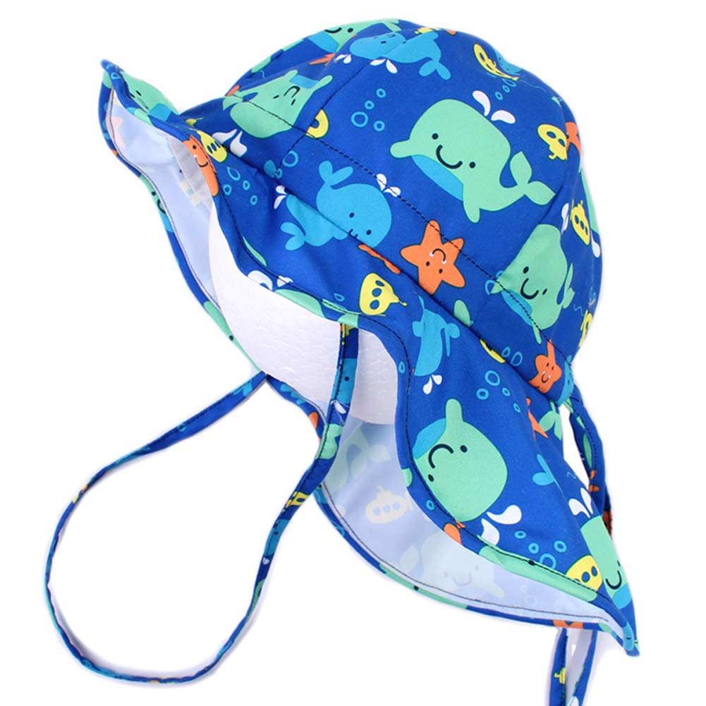 Schwimmbad Ausflug Hut mit Kinnriemen verstellbar Reise Angeln Jungen M/ädchen Sonnenhut mit Nackenschutz Anti-UV UPF50+ Sommerhut f/ür Strand