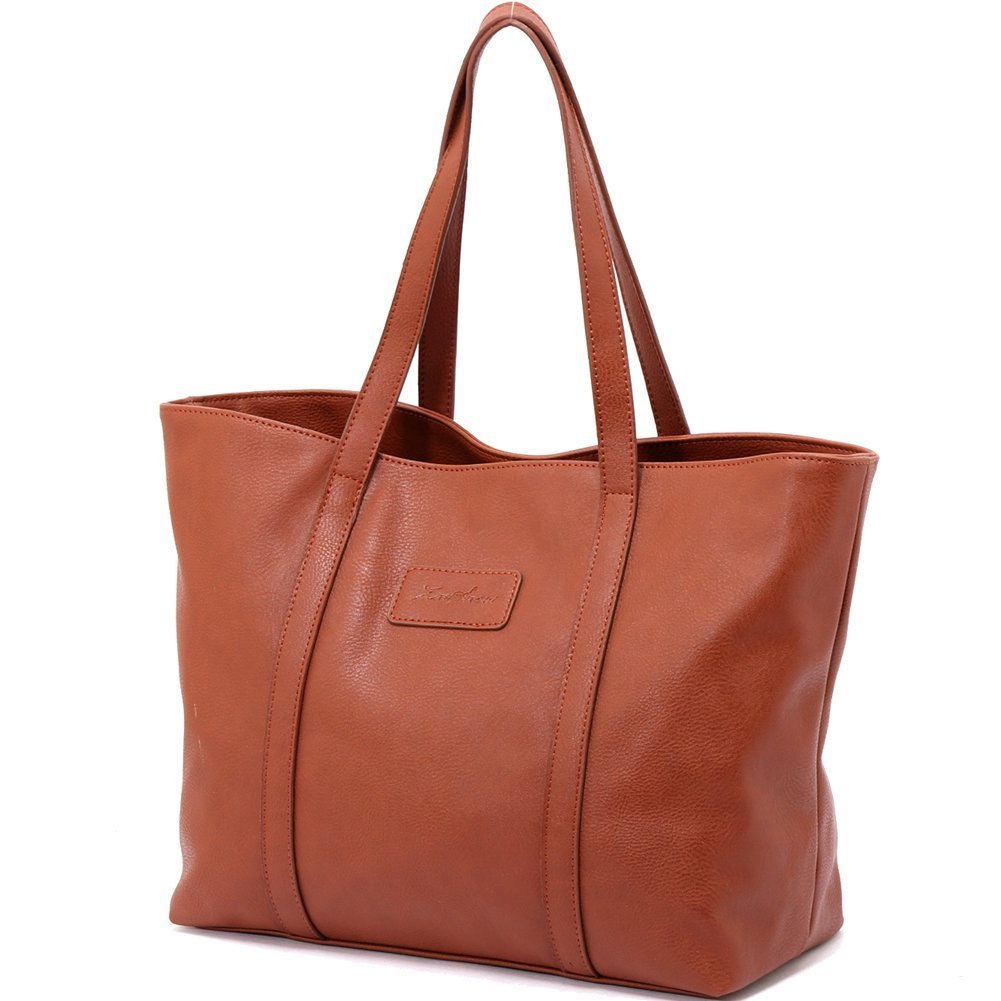 ZMSnow Ladies Handbags, PU Leather Large Tote Purse Shoulder Bags for Women NB-102-brown