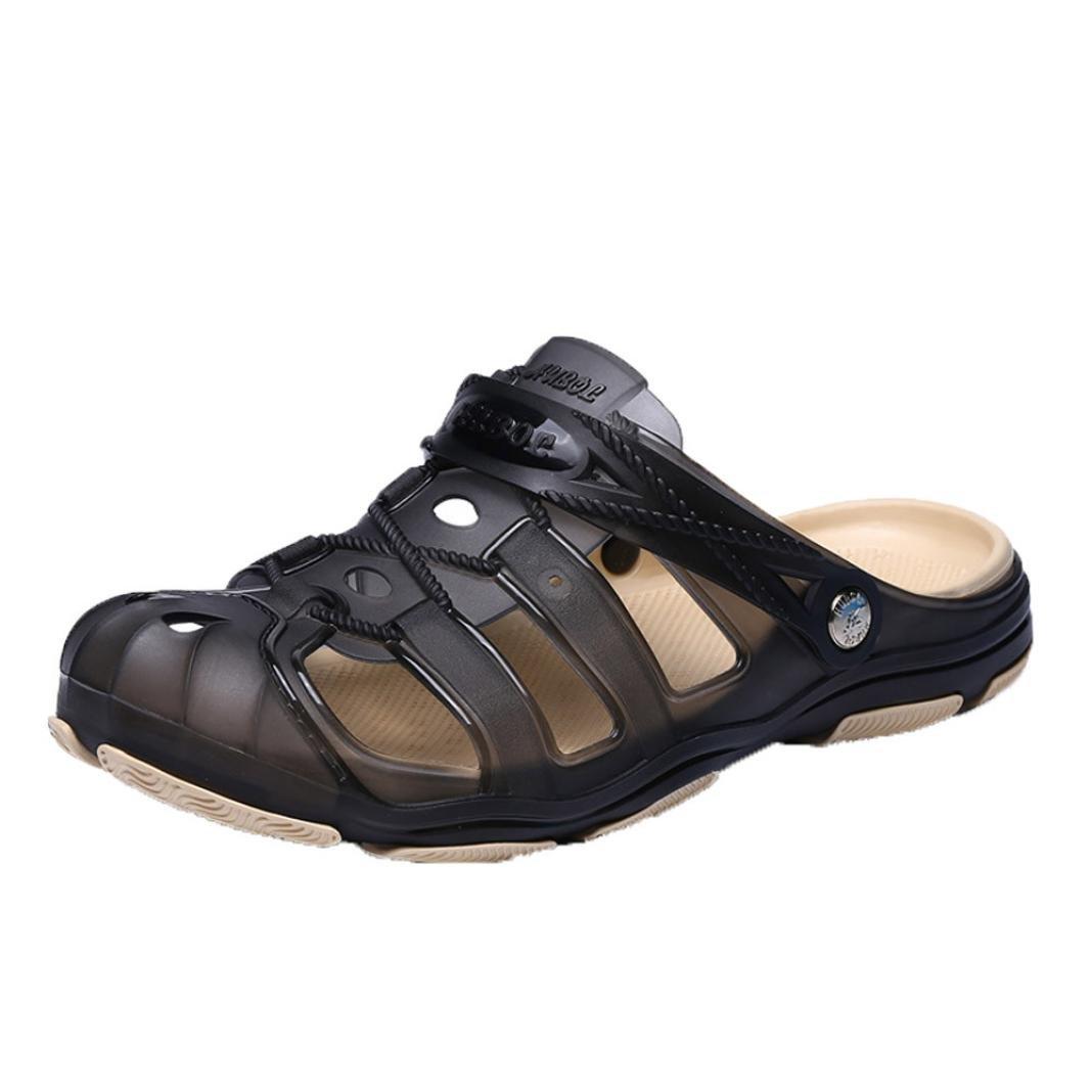 Logobeing Zuecos Hombre Sandalias de Playa Antideslizante Zapatillas Zapatos Huecos Zapatillas Respirables Zapatos Planos de Deslizamiento Chanclas