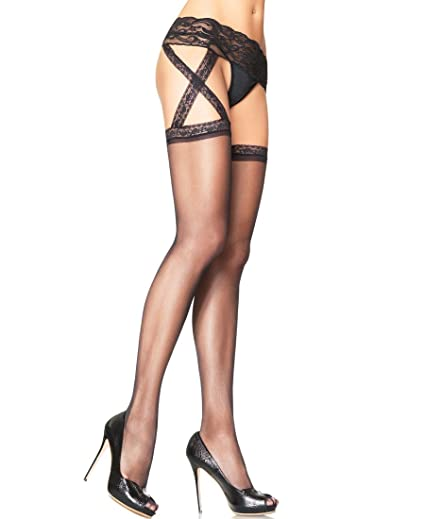 285083139f1 Image Unavailable. Image not available for. Color  Leg Avenue 1653 Women s  Criss Cross Sheer Garter Belt Thigh High Stockings ...