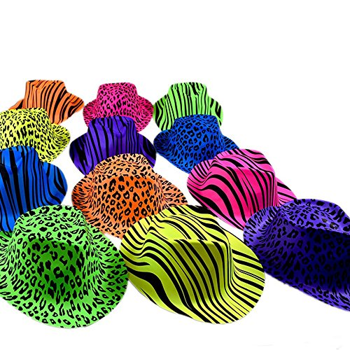 Zebra Print Hats (Novelty Place Neon Animal Print Plastic Party Hats, Fedora with Gangster Mafia Style, UV Blacklight Glow Party Stars Rave Hats for Kids and Teens in Birthday, Concerts, Music Party(Pack of)