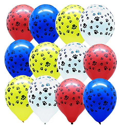 Gypsy Jade's Paw Print - Paw Party Balloons, Red - Yellow - Blue - White - Set of 32 Balloons!]()