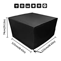 Xiliy Garden Furniture Covers Waterproof Protective Garden Cover for Furniture Table Black Polyester Square