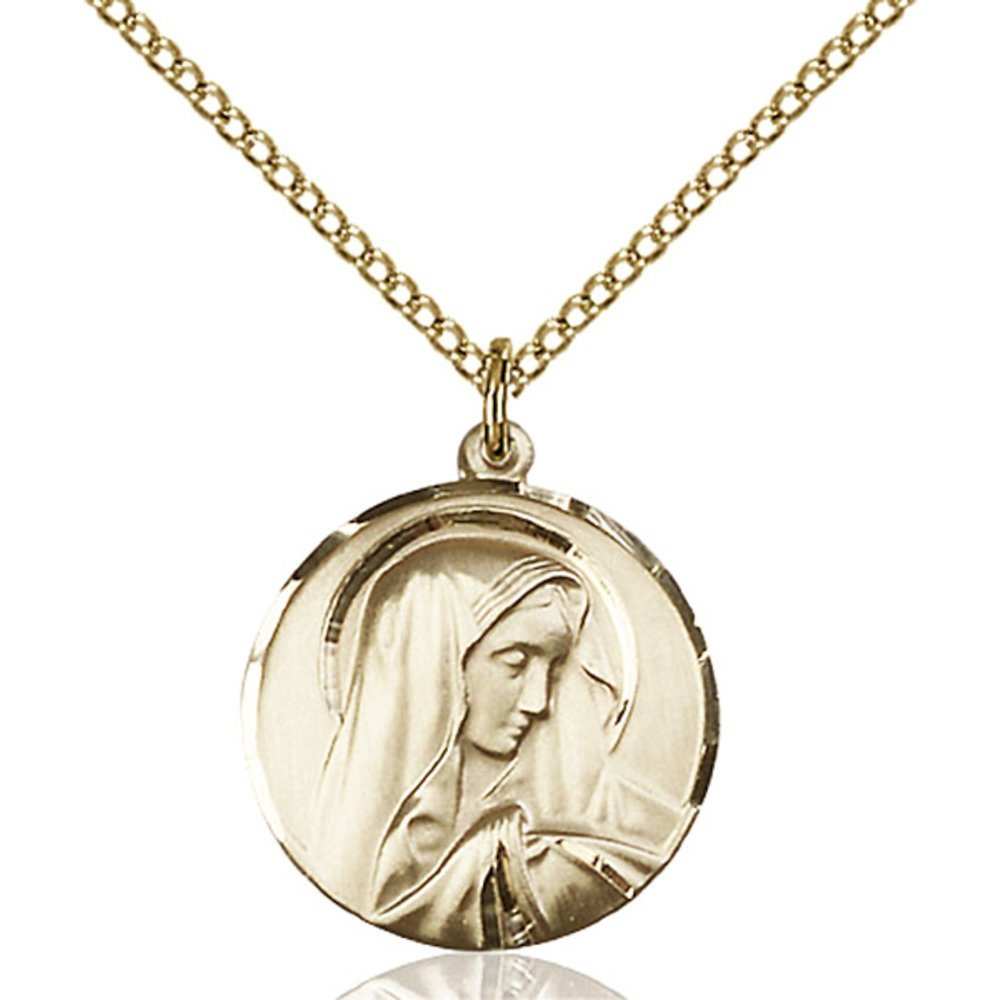 Gold Filled Women's SORROWFUL MOTHER Pendant - Includes 18 Inch Light Curb Chain - Deluxe Gift Box Included