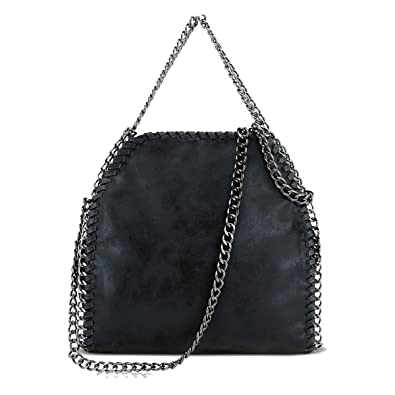 Stella Inspired Style Women/'s Metallic Faux Suede Large Chain Bag