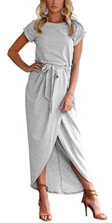 0f1e732cb6e Image Unavailable. Image not available for. Color  Women s Casual Short  Sleeve Front Slit Crew Neck Chic Long Maxi Dress ...