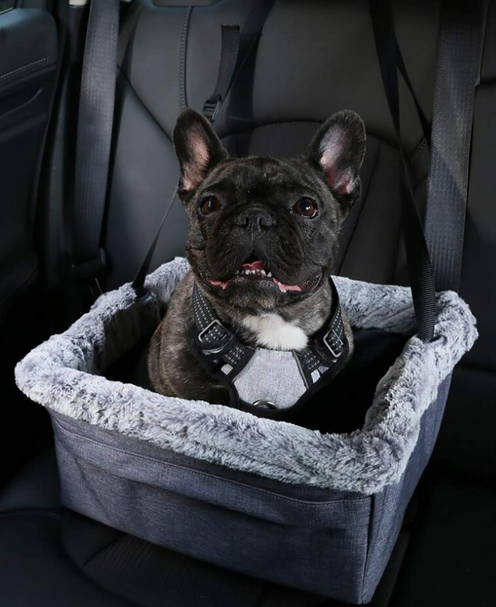 Devoted Doggy Deluxe Dog Booster Car Seat Premium Quality Metal Frame Construction Clip-on Safety Leash Zipper Storage Pocket Perfect for Small and Medium Pets Up to 15 Lbs