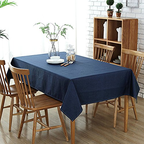 Wimaha 52x70In Rectangle Tablecloth for Rectangular Table Decoration, Cotton Linen Table Cloth, Fabric Table Cover for Picnic, Home Kitchen Dinner Christmas Thanksgiving Party, Table Topper, Navy Blue (Solid Tablecloth Linen)