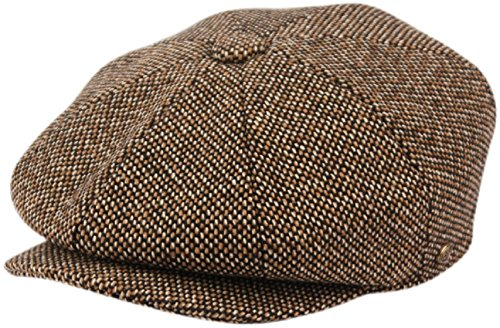 (Men's Classic 8 Panel Wool Blend Newsboy Snap Brim Collection Hat (Large, 2124-Brown))