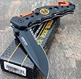 TAC-FORCE KNIVES Assisted Opening Rescue Knives BLACK ORANGE EMT Tactical Knife (1 Knife)