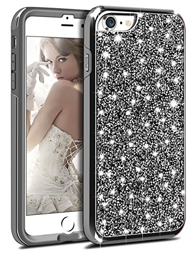 Bling Chunk - Vofolen Bling Case for iPhone 8 Case Glitter Crystal Rhinestone Shiny Heavy Duty Protection Impact Resistant Hybrid Protective Shell Dual Layer Armor Soft Bumper Hard Cover for iPhone 8 7 (Black)