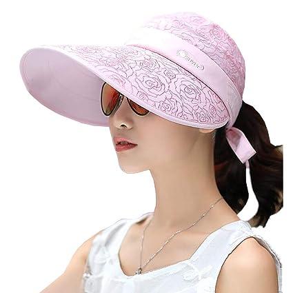 9e164ca6 Amazon.com: Sun Hats CJC Hats Large Brim Women's Summer Visor Adjustable  Packable UV Protection 17 Colors (Color : S, Size : 52-62CM): Home & Kitchen