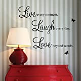 "HANMERO ""Live Every Moment,laugh Every Day, Love Beyond Words."" with 2x Butterfly Wall Quote Art Sticker Decal for Home Bedroom Decor Corp Office Wall Saying Mural Wallpaper Birthday Gift for Girl"