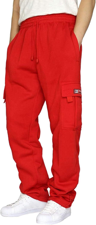 7789 Mens Casual Sweatpants Drawstring Cargo Pants for Men Loose Pocket Wide Leg Pant