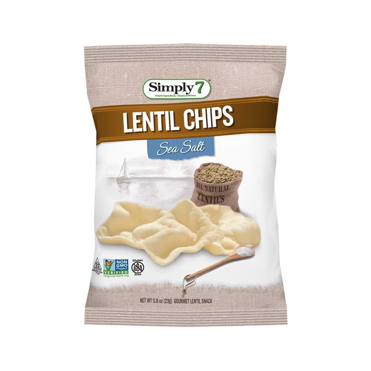 Simply 7 Lentil Chips, Sea Salt, 0.8 Ounce (Pack of 24)