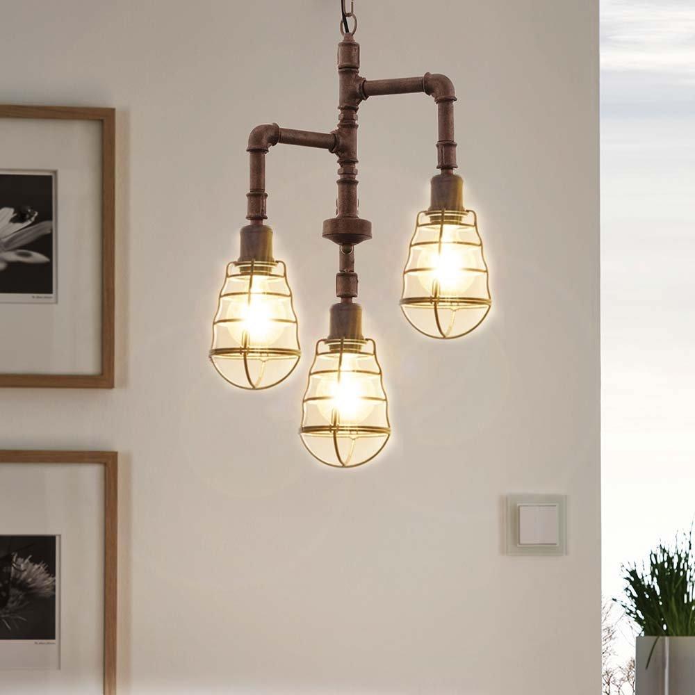 luz de Trend Pipeline rústico 3 lámpara de techo Vintage ...