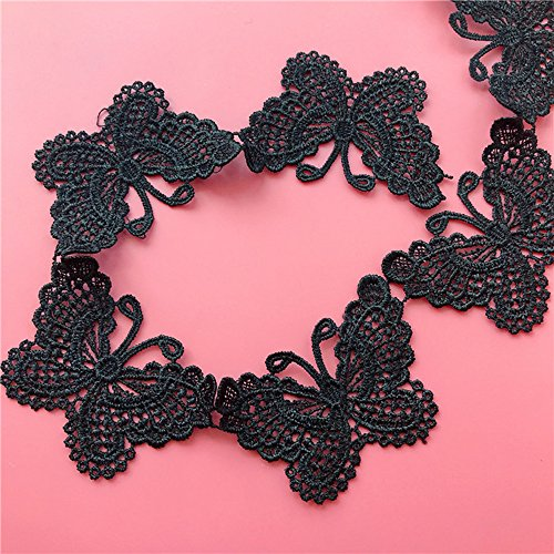 (USIX 10 Yards Lace Edge Butterfly Trim Webbing Lace DIY Applique Patch by Yard Embroidered Fabric Trimming Applique for DIY Decoration Sewing Craft Shoes Clothes Dresses(Black))