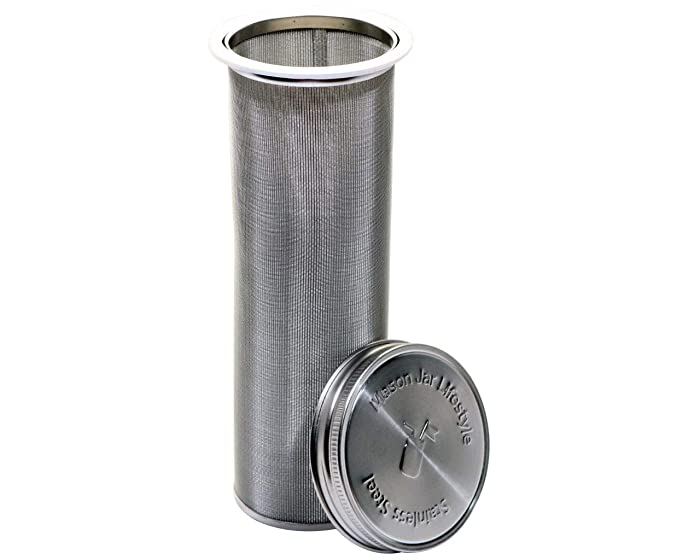 Mason Jar Lifestyle Cold Brew Coffee and Tea Maker Stainless Steel Filter With Lid and 2 Silicone Seals (No Jar, Half Gallon)