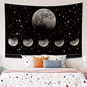OFila Moonlit Garden Tapestry Black Night Starry Sky Silver Glitter Stars Moon Phase Tapestry Galaxy Space Planets Wall Hanging Tapestry for Home Bedroom Living Room College Dorm Decor 59.1x39.4 Inch