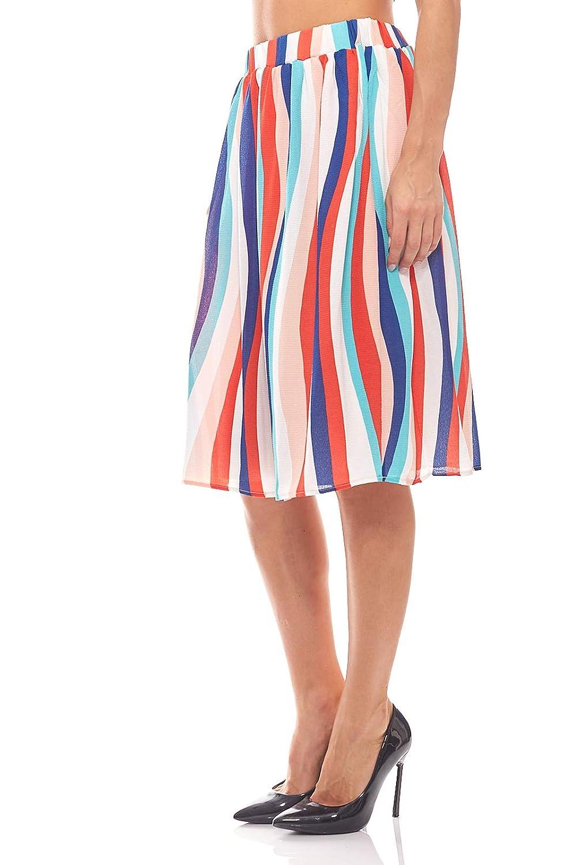 RICK CARDONA Falda de Verano Midi Crepe Tallas Grandes Colorful ...