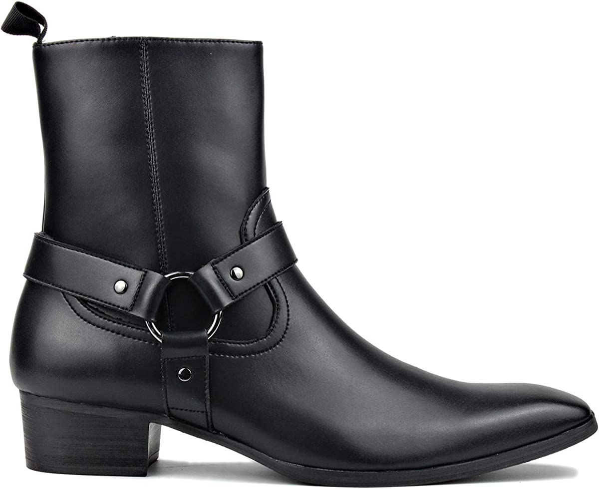 OSSTONE Men Chelsea Ankle Boots Leather Microfiber Chukka Designer Boots with Side Zipper Heel Dress Boots JY015-CQ