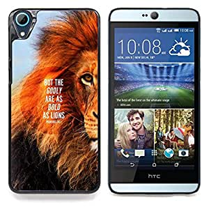 """León Texto Mane Inspiring Cita verano"""" - Metal de aluminio y de plástico duro Caja del teléfono - Negro - HTC Desire 626 626w 626d 626g 626G dual sim"""