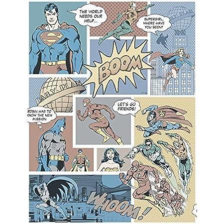 Galerie Official Superman Batman Flash Comic Superhero Childrens Wallpaper Vintage DC9002 2