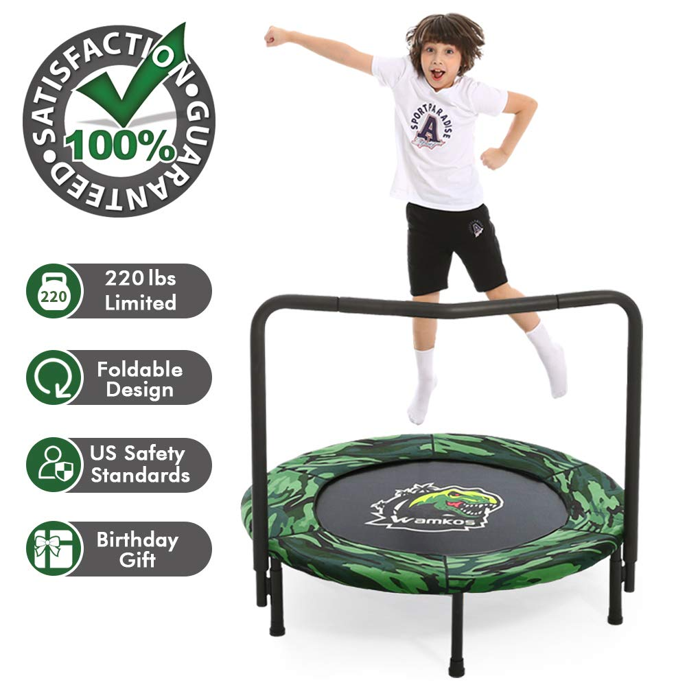 2019 Upgraded Dinosaur Camo Kids Trampoline with Handle,Foldable Mini Toddler Rebounder Trampoline for Kids Play & Exercise Indoor or Outdoor Jump Sports by Wamkos