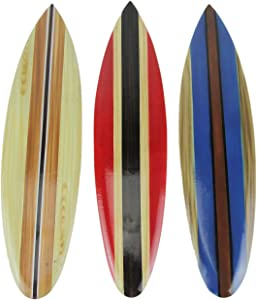 Zeckos Set of 3 Wooden Striped Surfboard Wall Hangings 16 Inches Long