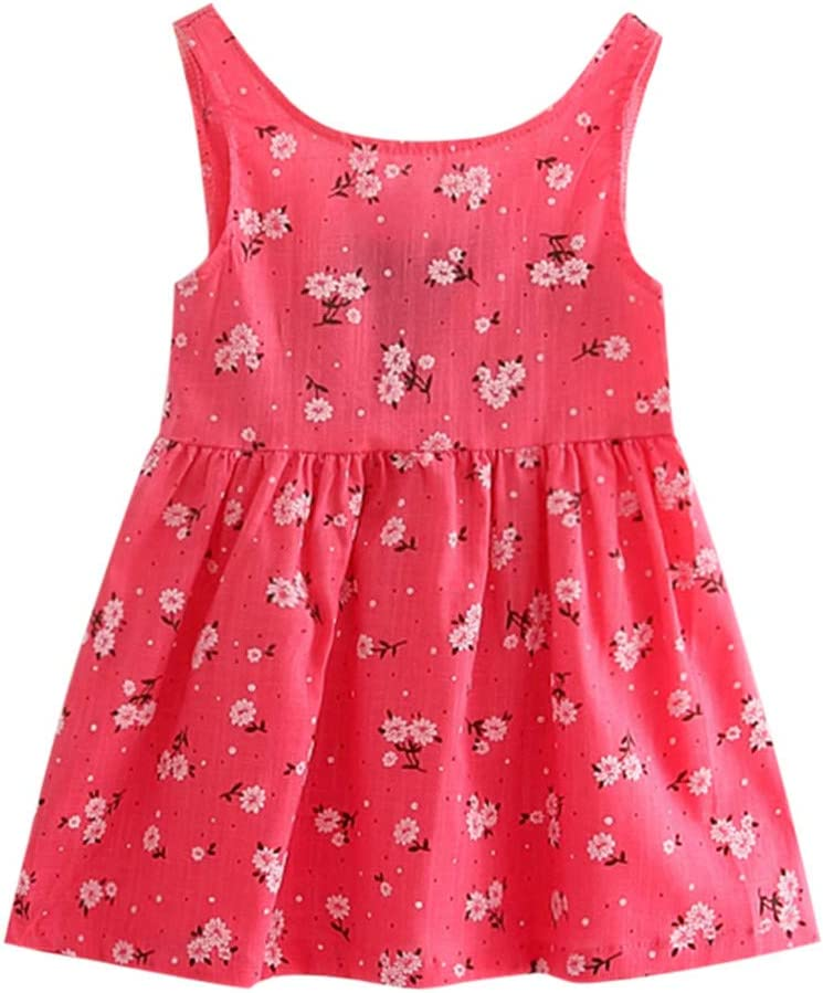 Toddler Baby Girls Princess Tank Top Dress Summer Beach Party Wedding Sundress Sleeveless Cotton Floral Mini Dress