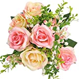 SOLEDI Artificial Flowers Fake Rose 12 Heads Lifelike Snow Mountain Rose For Wedding Home Bar Decor(Pink)