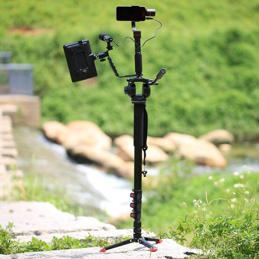 Tripods Monopods Xllcrh Four-Section Telescoping Aluminum-Magnesium Alloy Self-Standing Monopod Fluid Head with Support Base Bracket