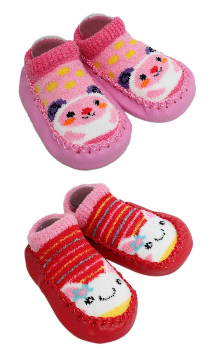 2 Pairs of Baby Boys Girls Fleece Non-slip Slippers Socks 6-12 12-24 Months Pink)