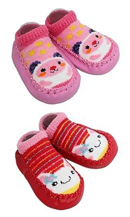 ed1bd5b1b3823 2 Pairs of Baby Boys Girls Fleece Non-slip Slippers Socks 6-12 12-24 Months