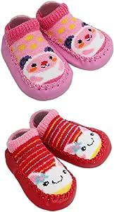 2 Pairs of Baby Boys Girls Fleece Non-Slip Slippers Socks 12-24 Months (Pink)