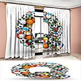 Davishouse Letter Q Blackout Window Curtain Typographic Letter Font Design with Various Gaming Balls Athletic Kids Teamplay Customized Curtains Multicolor